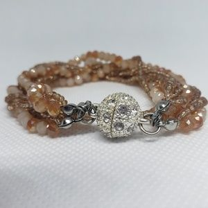 Peach color beaded magnetic bracelet